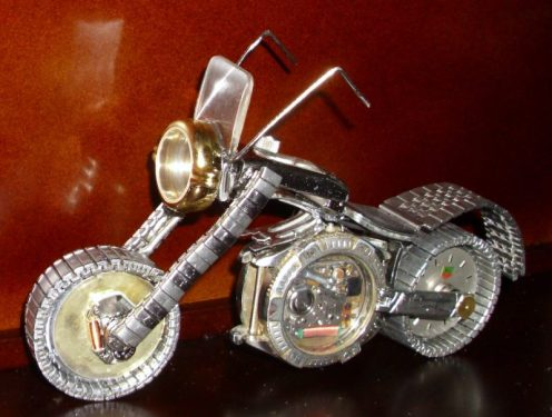 I also make motorcycles out of watch parts.