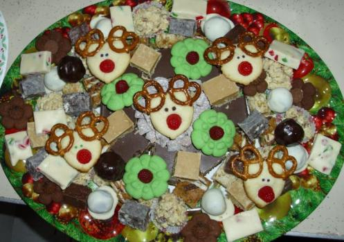A typical tray of goodies made for friends and family at Christmas.