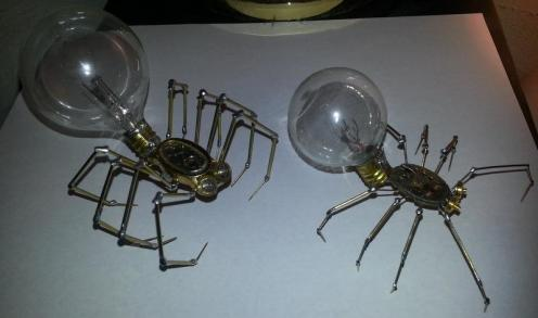I also make aliens and spiders out of light bulbs, radio tubes, watch parts, nails and screws.