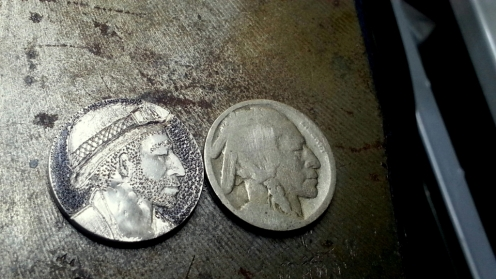 My first attempt at a Hobo Nickel. He's a miner now.